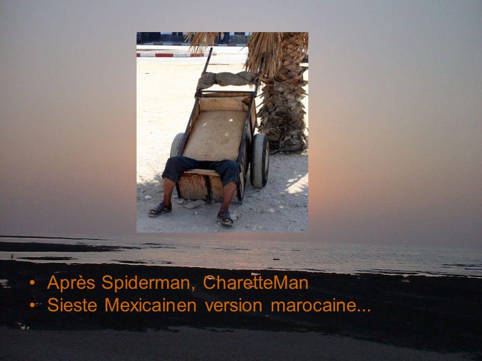 Après Spiderman, CharetteMan Sieste Mexicainen version marocaine...