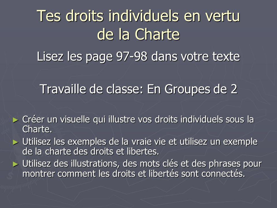 Tes droits individuels en vertu de la Charte Lisez les page 97-98 dans votre texte Travaille de classe: En Groupes de 2 ► Créer un visuelle qui illustre vos droits individuels sous la Charte.