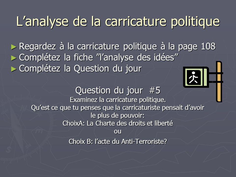 L'analyse de la carricature politique ► Regardez à la carricature politique à la page 108 ► Complétez la fiche l'analyse des idées ► Complétez la Question du jour Question du jour #5 Examinez la carricature politique.