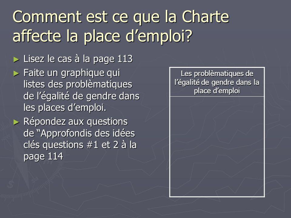 Comment est ce que la Charte affecte la place d'emploi? ► Lisez le cas à la page 113 ► Faite un graphique qui listes des problèmatiques de l'égalité d