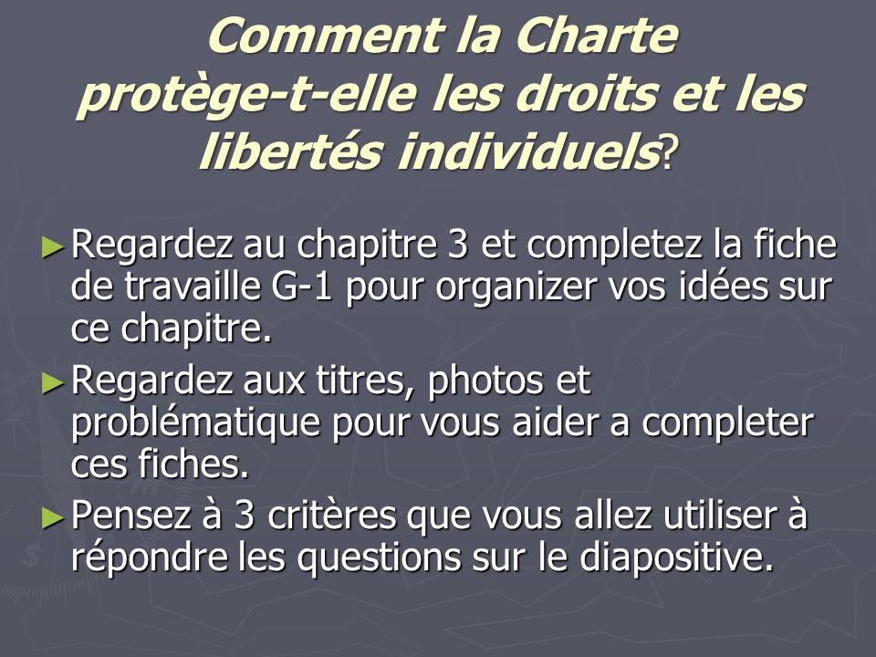 Comment la Charte protège-t-elle les droits et les libertés individuels? ► Regardez au chapitre 3 et completez la fiche de travaille G-1 pour organize
