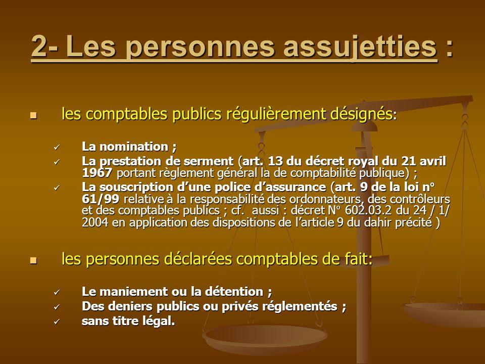 2- Les personnes assujetties : les comptables publics régulièrement désignés : les comptables publics régulièrement désignés : La nomination ; La nomi