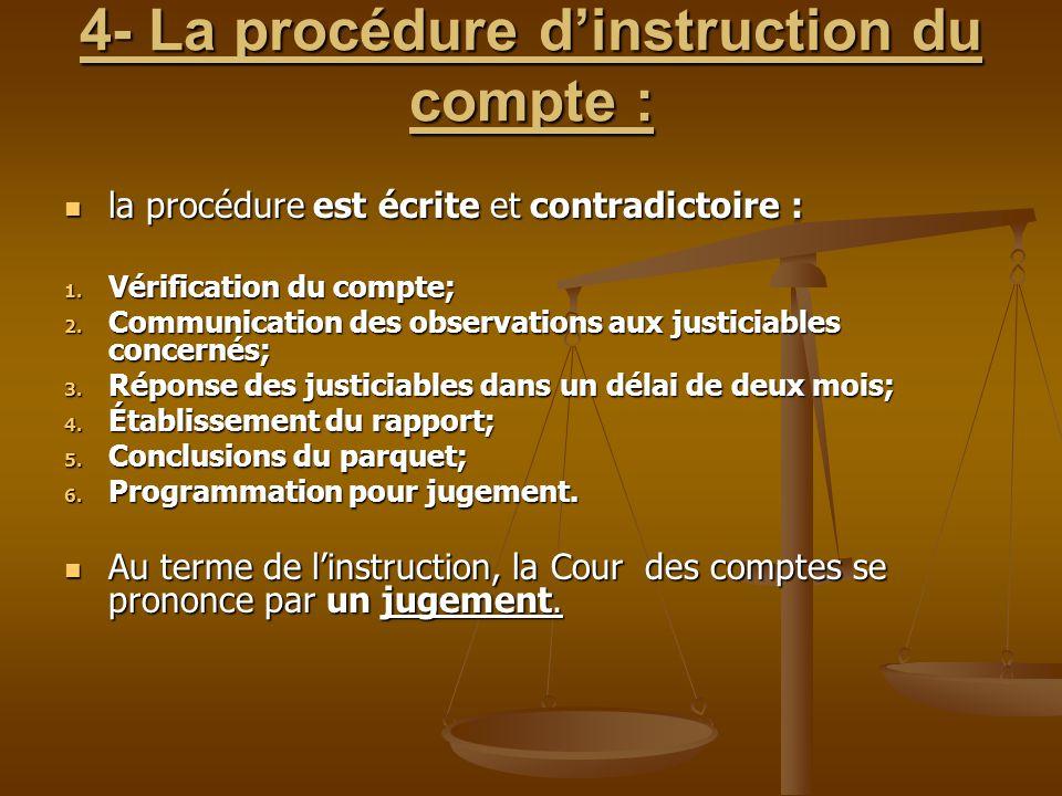 4- La procédure d'instruction du compte : la procédure est écrite et contradictoire : la procédure est écrite et contradictoire : 1. Vérification du c