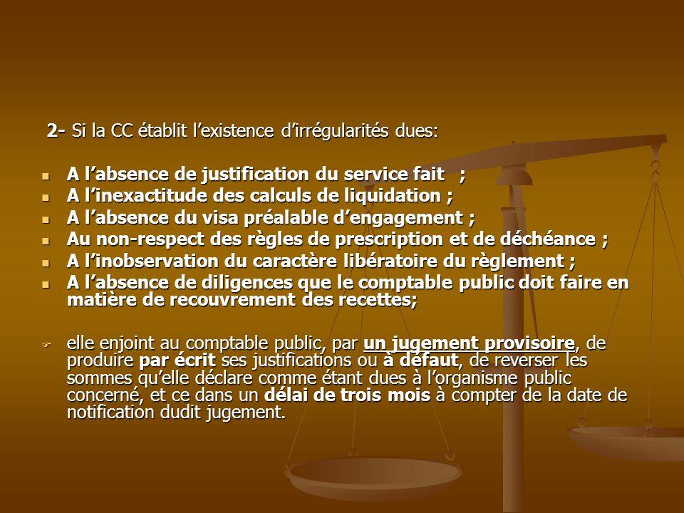 2- Si la CC établit l'existence d'irrégularités dues: 2- Si la CC établit l'existence d'irrégularités dues: A l'absence de justification du service fa