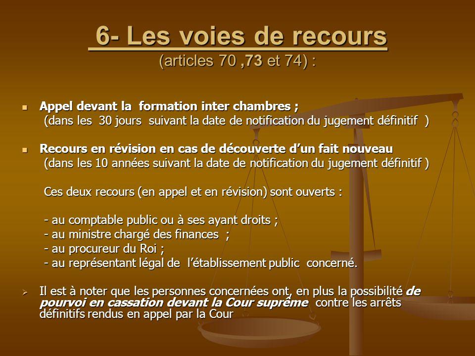 6- Les voies de recours (articles 70,73 et 74) : 6- Les voies de recours (articles 70,73 et 74) : Appel devant la formation inter chambres ; Appel dev