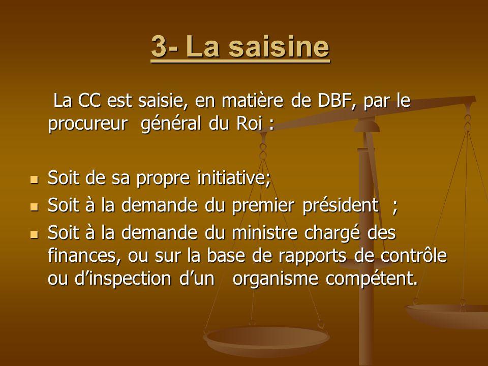 3- La saisine 3- La saisine La CC est saisie, en matière de DBF, par le procureur général du Roi : La CC est saisie, en matière de DBF, par le procure