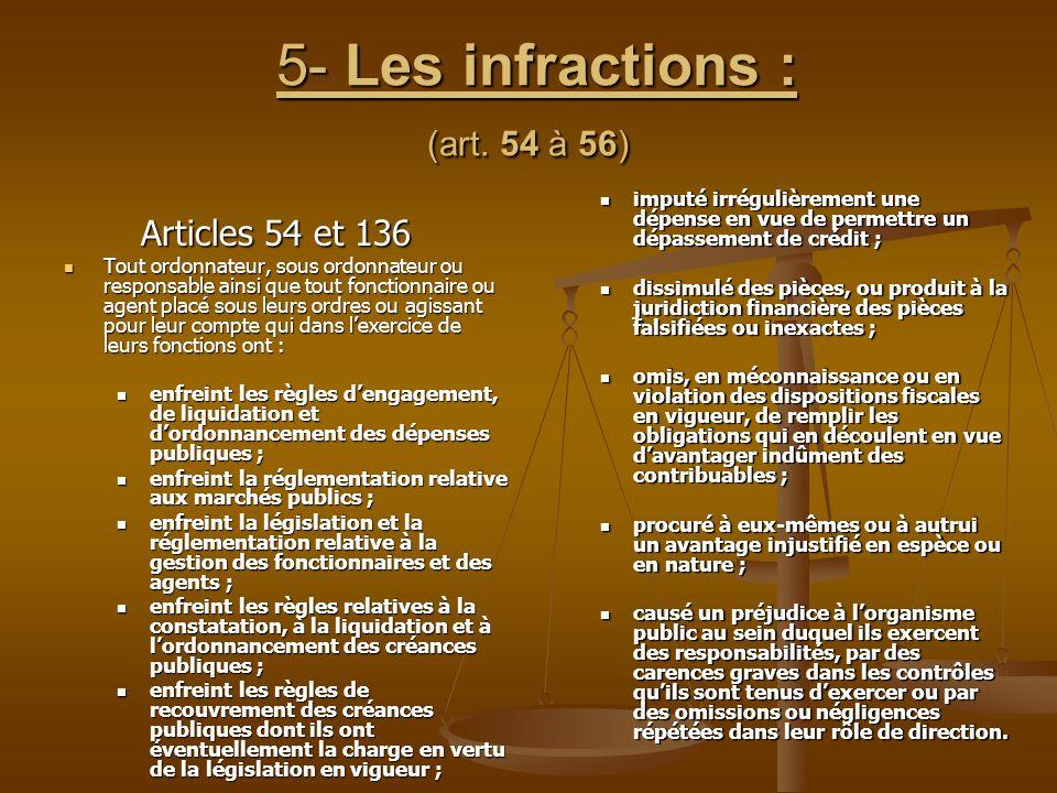 5- Les infractions : (art. 54 à 56) 5- Les infractions : (art. 54 à 56) Articles 54 et 136 Articles 54 et 136 Tout ordonnateur, sous ordonnateur ou re