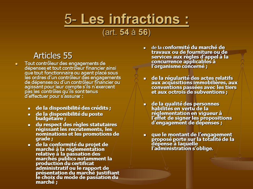 5- Les infractions : (art. 54 à 56) Articles 55 Articles 55 Tout contrôleur des engagements de dépenses et tout contrôleur financier ainsi que tout fo