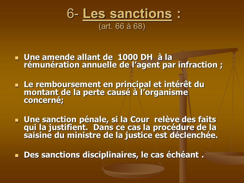 6- Les sanctions : (art. 66 à 68) 6- Les sanctions : (art. 66 à 68) Une amende allant de 1000 DH à la rémunération annuelle de l'agent par infraction