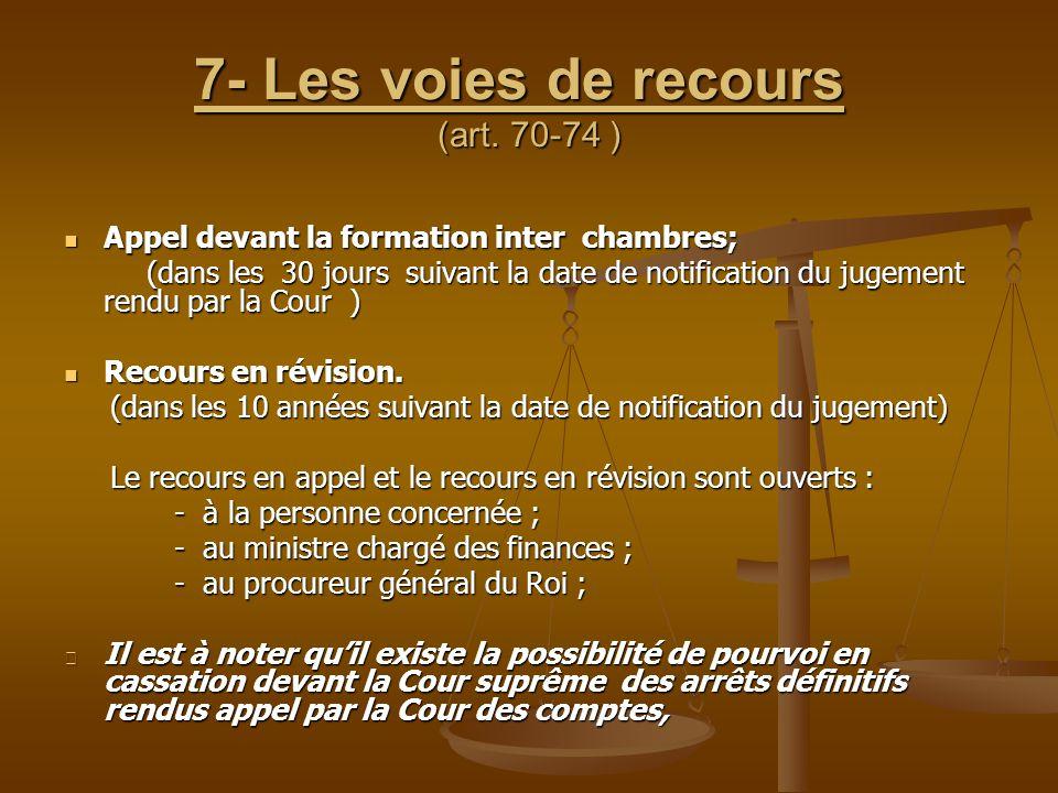 7- Les voies de recours (art. 70-74 ) Appel devant la formation inter chambres; Appel devant la formation inter chambres; (dans les 30 jours suivant l