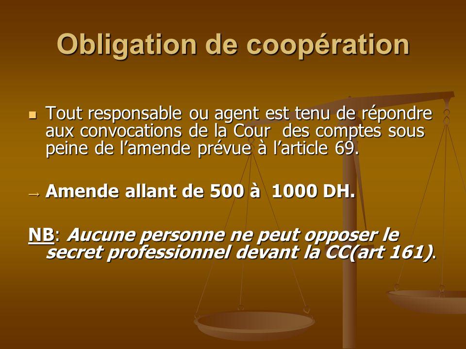 Obligation de coopération Tout responsable ou agent est tenu de répondre aux convocations de la Cour des comptes sous peine de l'amende prévue à l'art