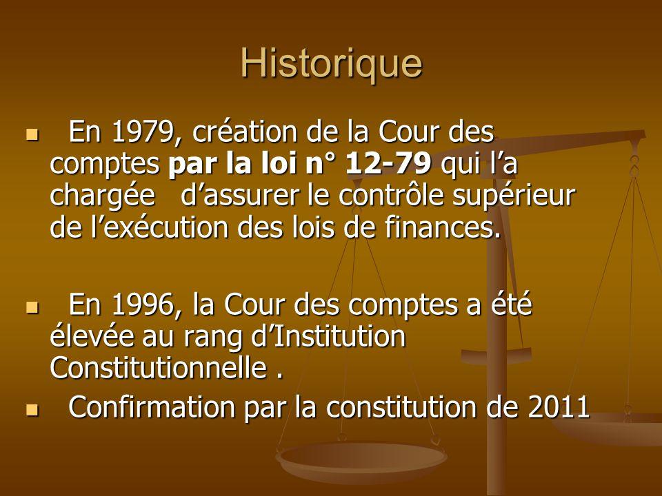 Historique En 1979, création de la Cour des comptes par la loi n° 12-79 qui l'a chargée d'assurer le contrôle supérieur de l'exécution des lois de fin