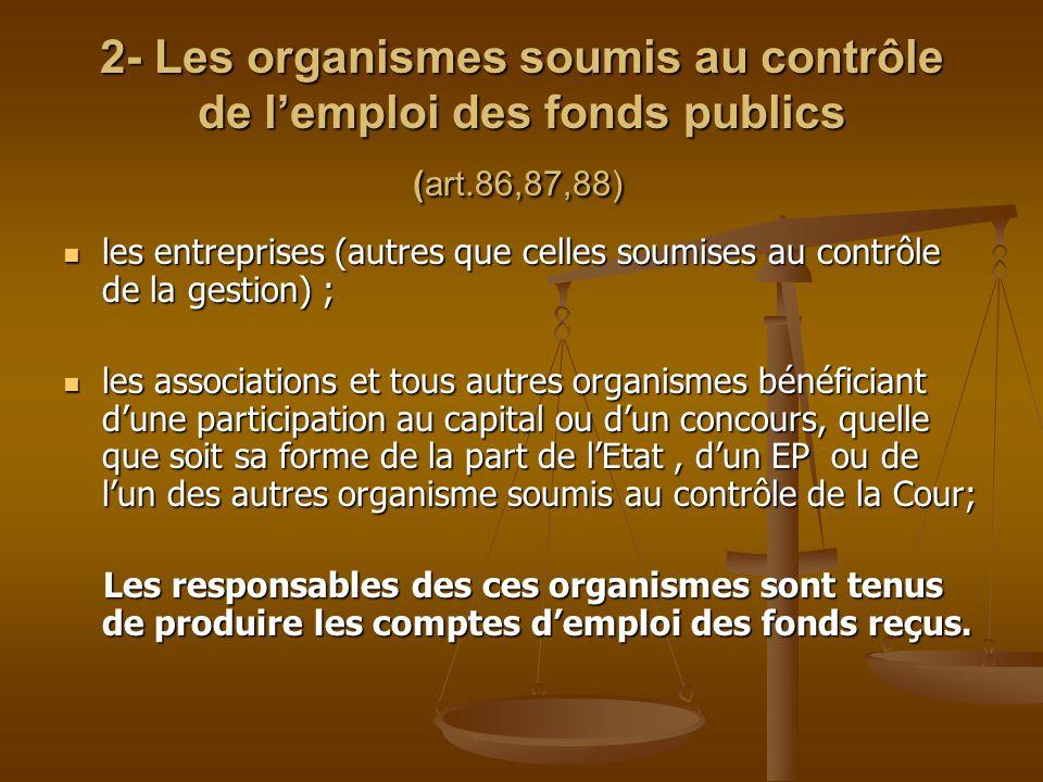 2- Les organismes soumis au contrôle de l'emploi des fonds publics (art.86,87,88) 2- Les organismes soumis au contrôle de l'emploi des fonds publics (