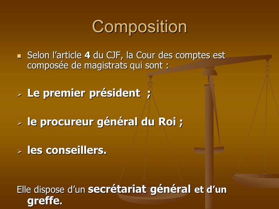 Composition Selon l'article 4 du CJF, la Cour des comptes est composée de magistrats qui sont : Selon l'article 4 du CJF, la Cour des comptes est comp