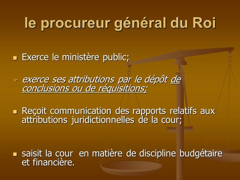 le procureur général du Roi Exerce le ministère public; Exerce le ministère public;  exerce ses attributions par le dépôt de conclusions ou de réquis