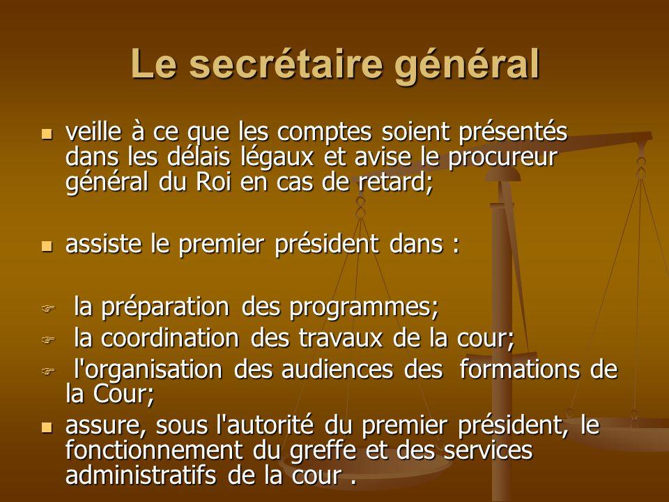 Le secrétaire général veille à ce que les comptes soient présentés dans les délais légaux et avise le procureur général du Roi en cas de retard; veill