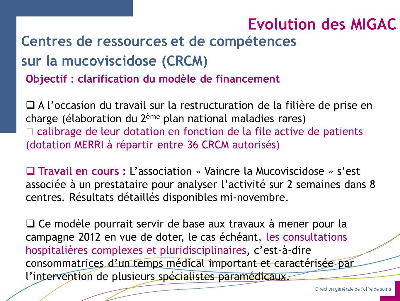 Direction générale de l'offre de soins Evolution des MIGAC Objectif : clarification du modèle de financement  A l'occasion du travail sur la restructuration de la filière de prise en charge (élaboration du 2 ème plan national maladies rares)  calibrage de leur dotation en fonction de la file active de patients (dotation MERRI à répartir entre 36 CRCM autorisés)  Travail en cours : L'association « Vaincre la Mucoviscidose » s'est associée à un prestataire pour analyser l'activité sur 2 semaines dans 8 centres.