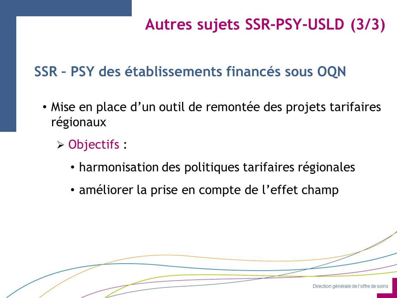 Direction générale de l'offre de soins Autres sujets SSR-PSY-USLD (3/3) SSR – PSY des établissements financés sous OQN Mise en place d'un outil de remontée des projets tarifaires régionaux  Objectifs : harmonisation des politiques tarifaires régionales améliorer la prise en compte de l'effet champ