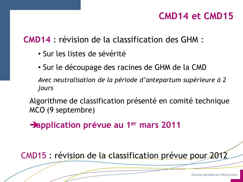 Direction générale de l'offre de soins CMD14 et CMD15 CMD14 : révision de la classification des GHM : Sur les listes de sévérité Sur le découpage des racines de GHM de la CMD Avec neutralisation de la période d'antepartum supérieure à 2 jours Algorithme de classification présenté en comité technique MCO (9 septembre)  application prévue au 1 er mars 2011 CMD15 : révision de la classification prévue pour 2012