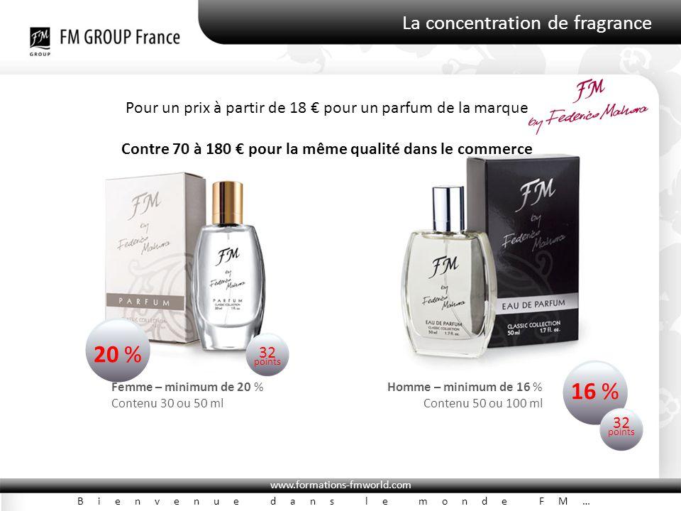www.formations-fmworld.com Bienvenue dans le monde FM… La concentration de fragrance Pour un prix à partir de 18 € pour un parfum de la marque Contre