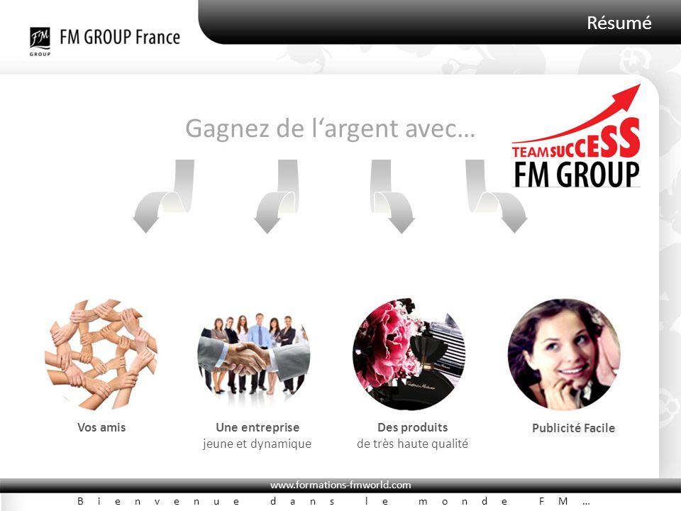 www.formations-fmworld.com Bienvenue dans le monde FM… Résumé Vos amisUne entreprise jeune et dynamique Des produits de très haute qualité Publicité F