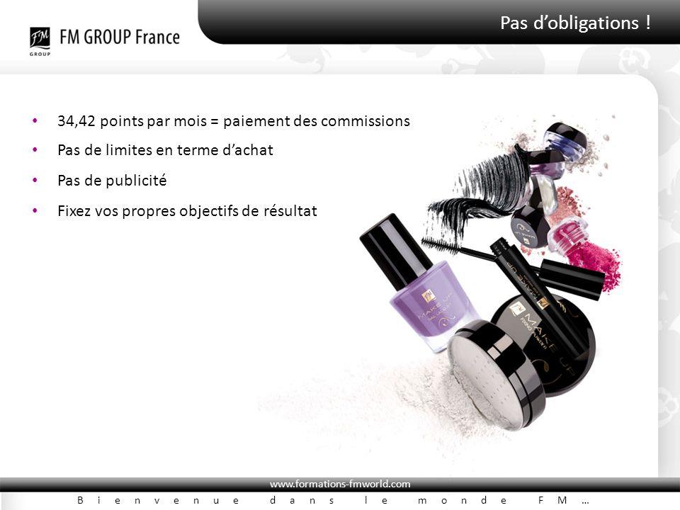 www.formations-fmworld.com Bienvenue dans le monde FM… Pas d'obligations ! 34,42 points par mois = paiement des commissions Pas de limites en terme d'
