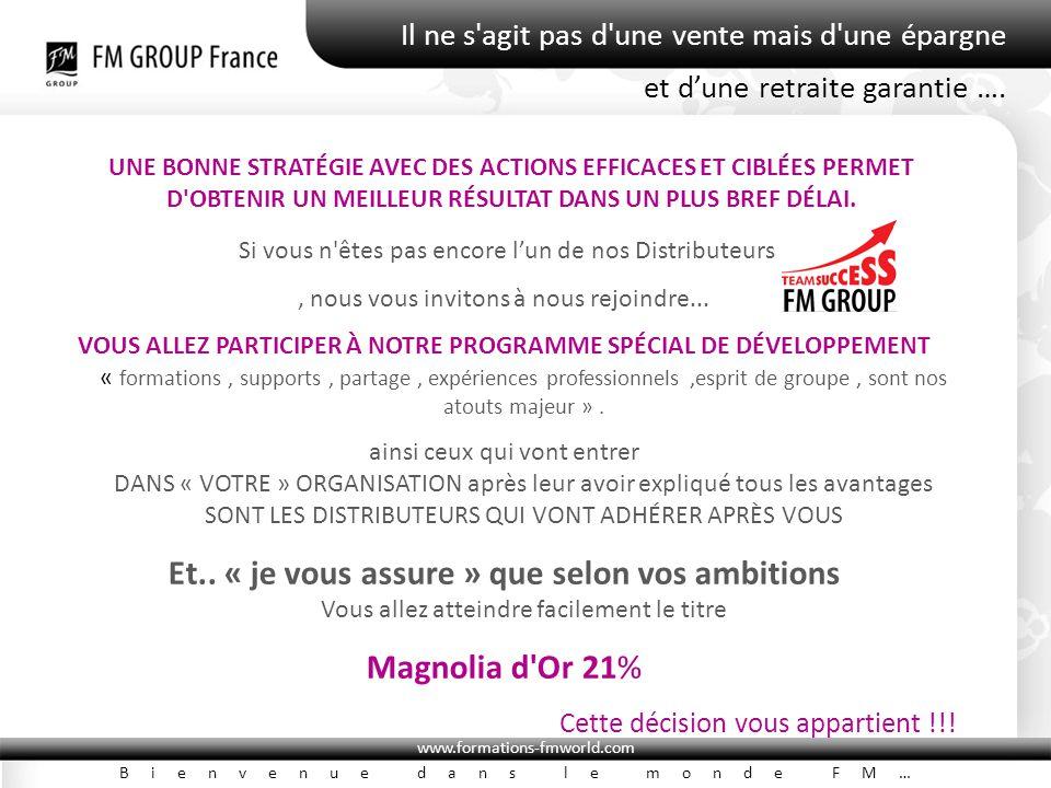 www.formations-fmworld.com Bienvenue dans le monde FM… Il ne s'agit pas d'une vente mais d'une épargne UNE BONNE STRATÉGIE AVEC DES ACTIONS EFFICACES