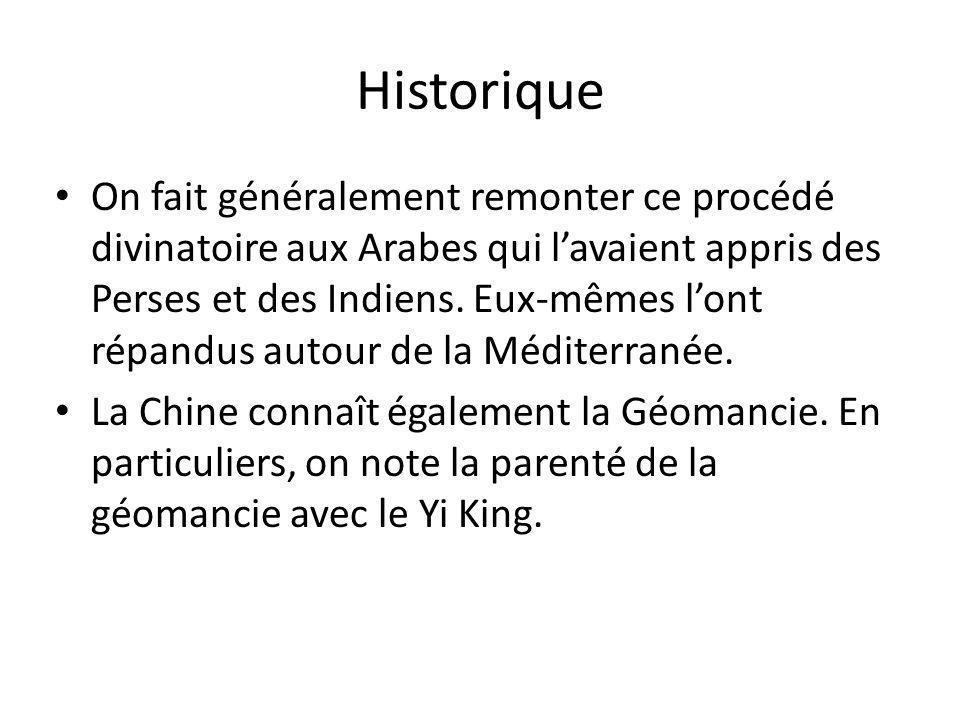 Historique On fait généralement remonter ce procédé divinatoire aux Arabes qui l'avaient appris des Perses et des Indiens. Eux-mêmes l'ont répandus au