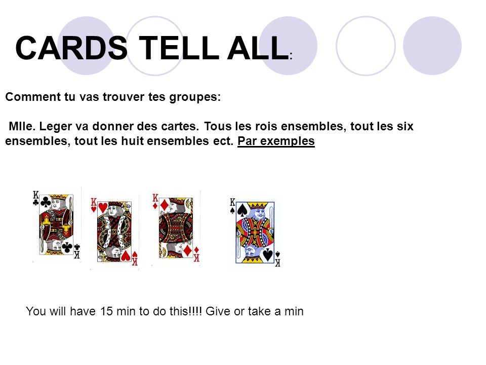 CARDS TELL ALL : Comment tu vas trouver tes groupes: Mlle.