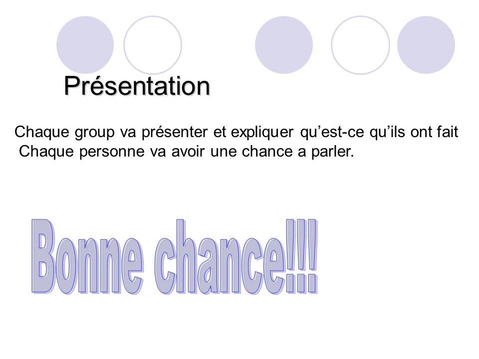 Présentation Chaque group va présenter et expliquer qu'est-ce qu'ils ont fait Chaque personne va avoir une chance a parler.