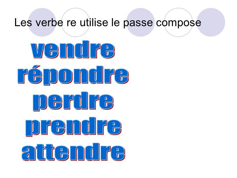Les verbe re utilise le passe compose