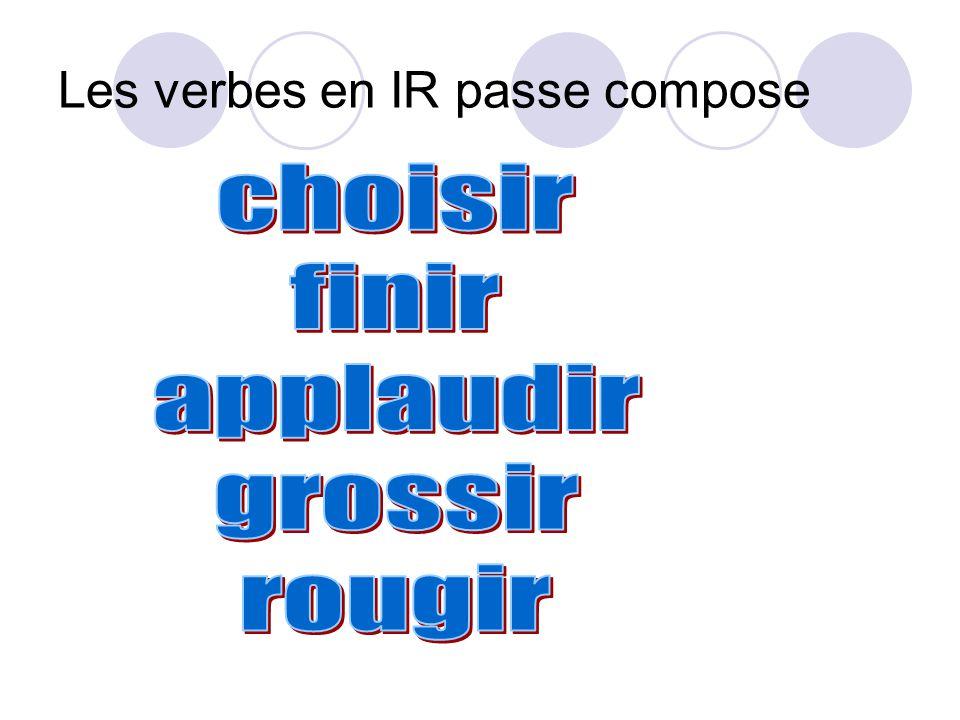 Les verbes en IR passe compose