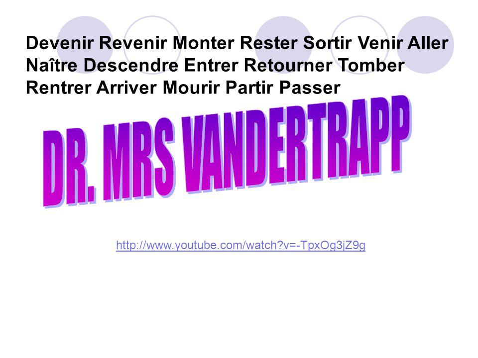 Devenir Revenir Monter Rester Sortir Venir Aller Naître Descendre Entrer Retourner Tomber Rentrer Arriver Mourir Partir Passer http://www.youtube.com/
