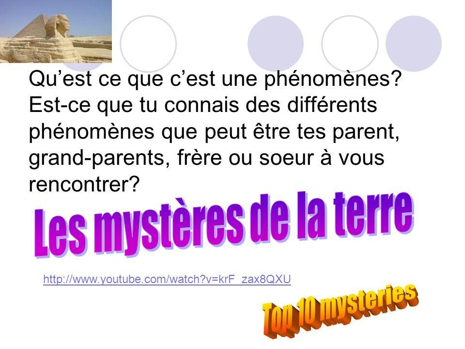Qu'est ce que c'est une phénomènes? Est-ce que tu connais des différents phénomènes que peut être tes parent, grand-parents, frère ou soeur à vous ren