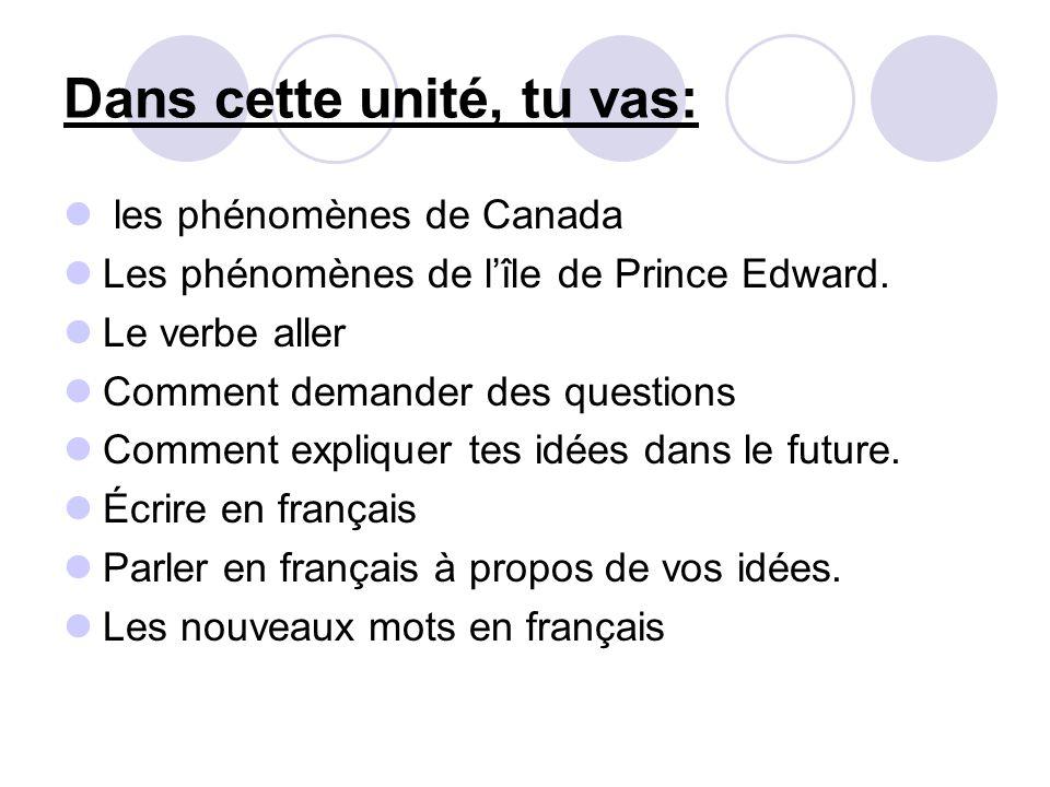 Dans cette unité, tu vas: les phénomènes de Canada Les phénomènes de l'île de Prince Edward. Le verbe aller Comment demander des questions Comment exp
