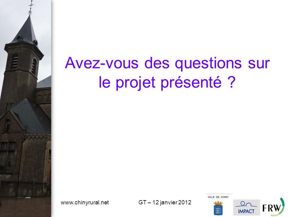 Avez-vous des questions sur le projet présenté www.chinyrural.netGT – 12 janvier 2012