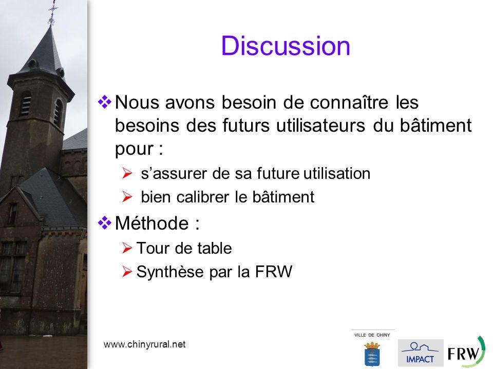 www.chinyrural.net Discussion  Nous avons besoin de connaître les besoins des futurs utilisateurs du bâtiment pour :  s'assurer de sa future utilisation  bien calibrer le bâtiment  Méthode :  Tour de table  Synthèse par la FRW