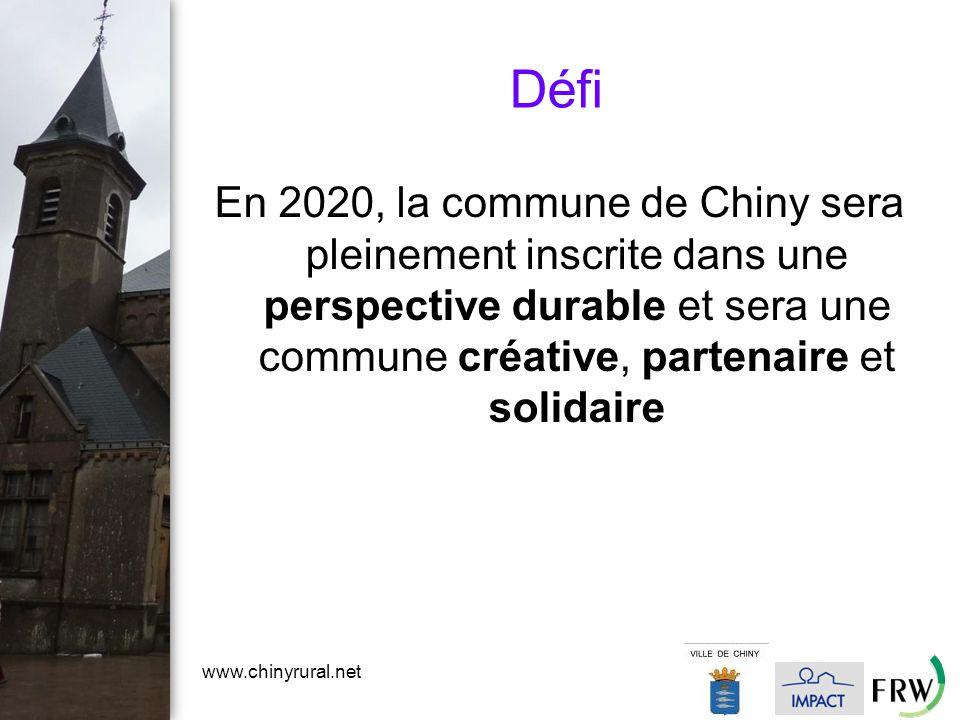 www.chinyrural.net Défi En 2020, la commune de Chiny sera pleinement inscrite dans une perspective durable et sera une commune créative, partenaire et solidaire