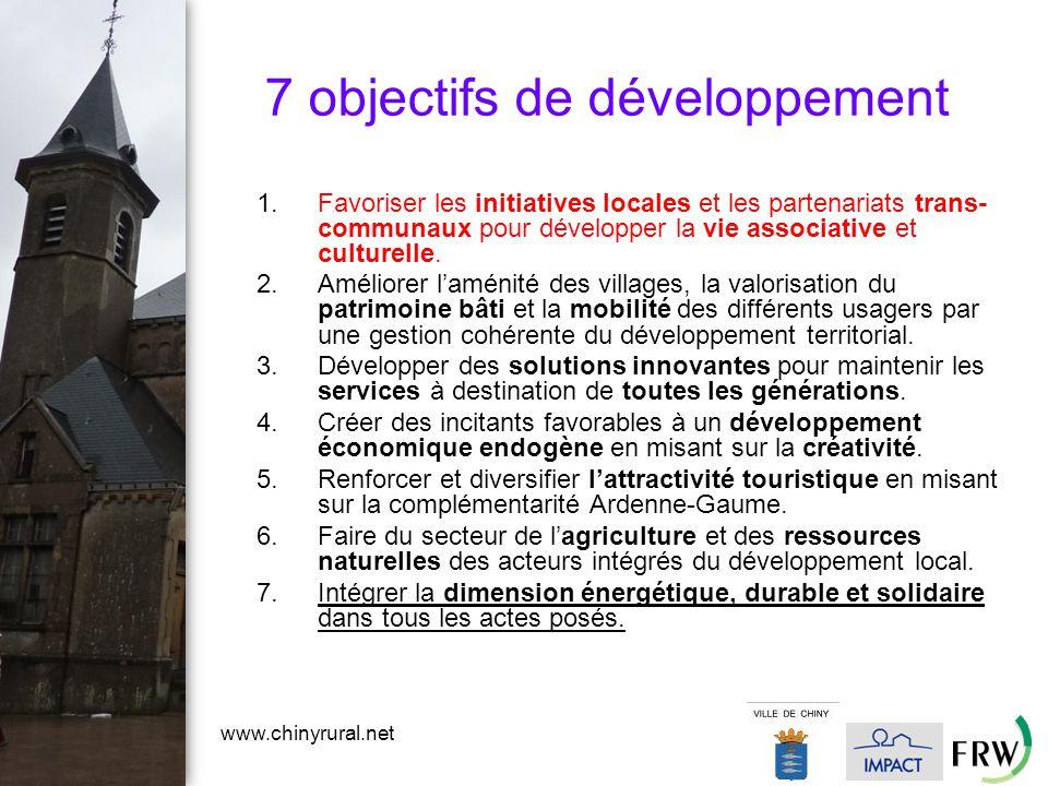 www.chinyrural.net 7 objectifs de développement 1.Favoriser les initiatives locales et les partenariats trans- communaux pour développer la vie associative et culturelle.