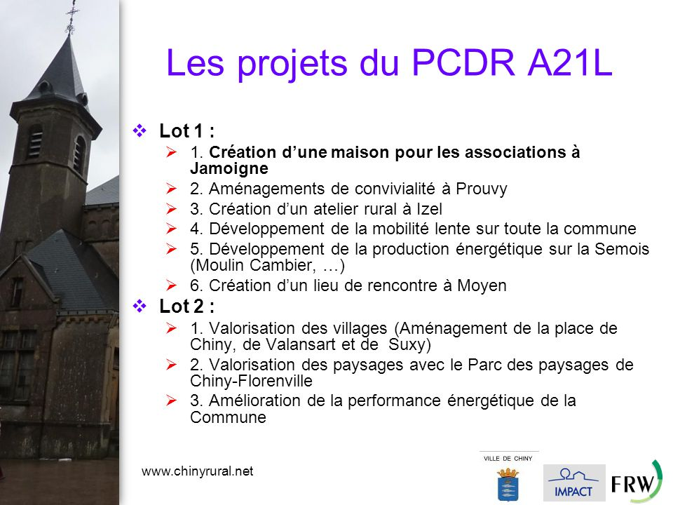 www.chinyrural.net Les projets du PCDR A21L  Lot 1 :  1.