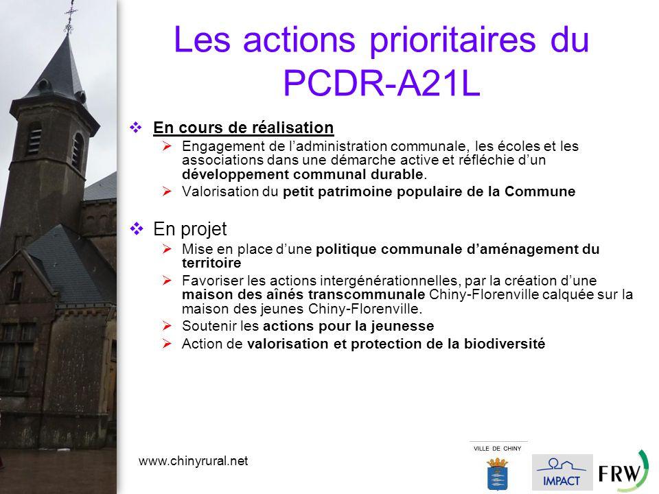 www.chinyrural.net Les actions prioritaires du PCDR-A21L  En cours de réalisation  Engagement de l'administration communale, les écoles et les associations dans une démarche active et réfléchie d'un développement communal durable.