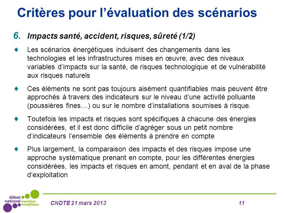 Critères pour l'évaluation des scénarios 6. Impacts santé, accident, risques, sûreté (1/2)  Les scénarios énergétiques induisent des changements dans
