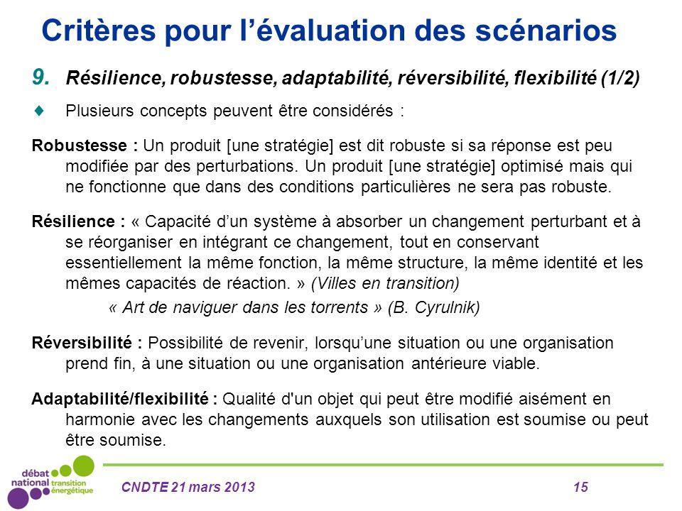 Critères pour l'évaluation des scénarios 9. Résilience, robustesse, adaptabilité, réversibilité, flexibilité (1/2)  Plusieurs concepts peuvent être c