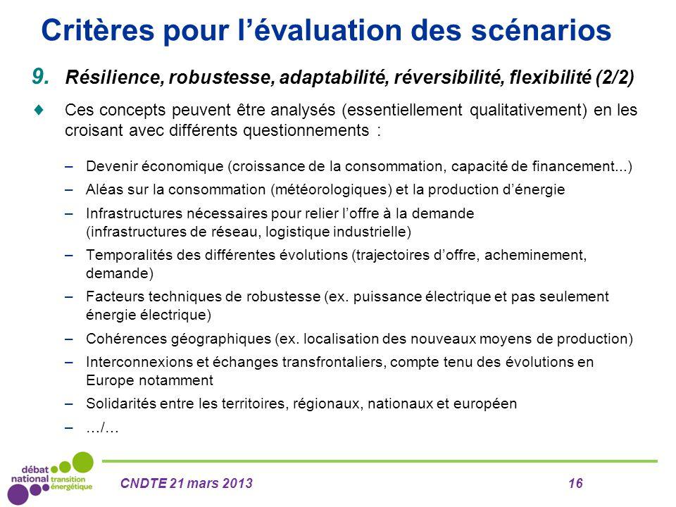 Critères pour l'évaluation des scénarios 9. Résilience, robustesse, adaptabilité, réversibilité, flexibilité (2/2)  Ces concepts peuvent être analysé