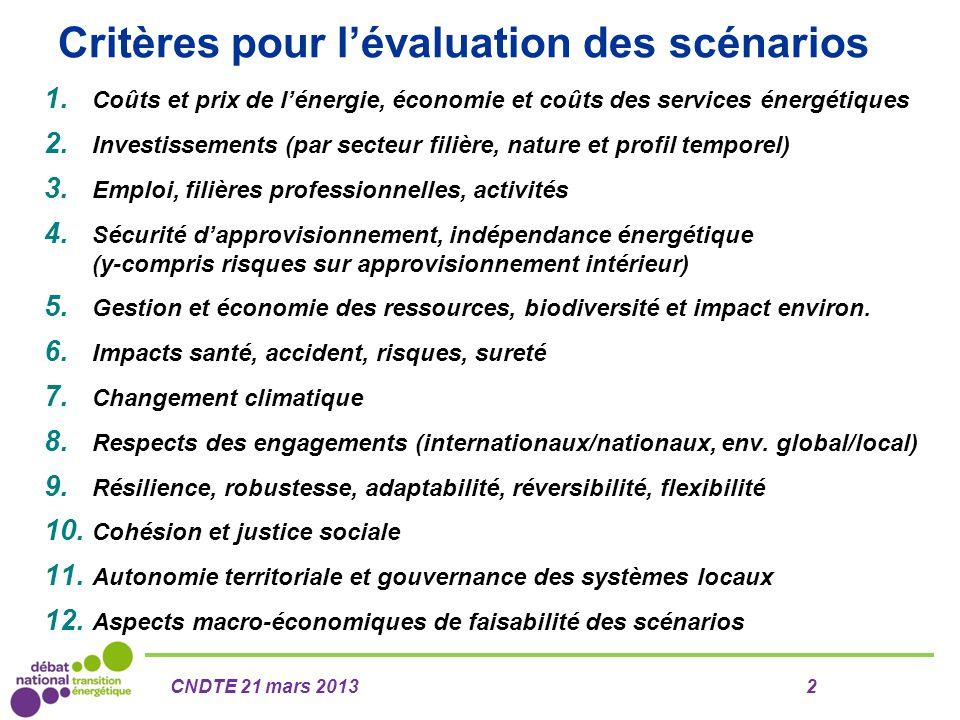 Critères pour l'évaluation des scénarios 1. Coûts et prix de l'énergie, économie et coûts des services énergétiques 2. Investissements (par secteur fi