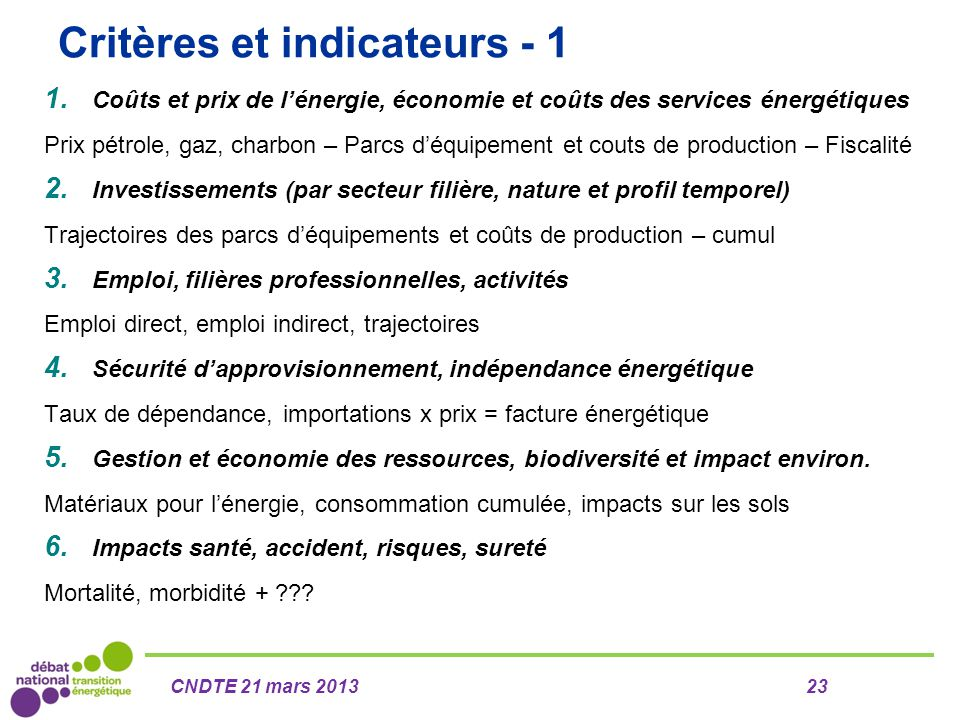 Critères et indicateurs - 1 1. Coûts et prix de l'énergie, économie et coûts des services énergétiques Prix pétrole, gaz, charbon – Parcs d'équipement