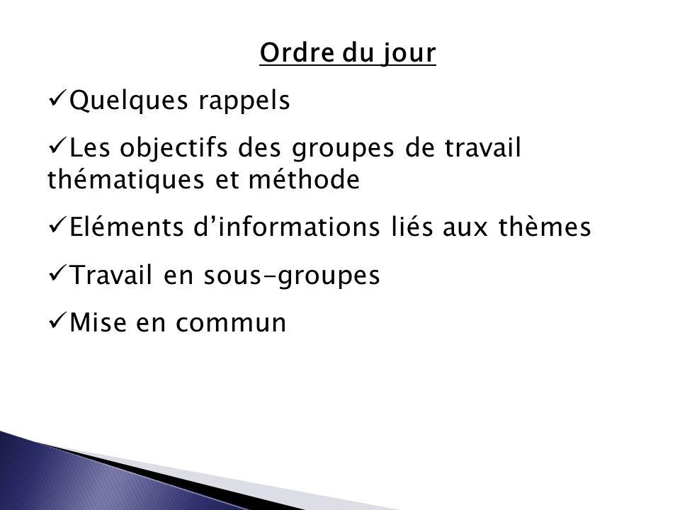 Ordre du jour Quelques rappels Les objectifs des groupes de travail thématiques et méthode Eléments d'informations liés aux thèmes Travail en sous-groupes Mise en commun