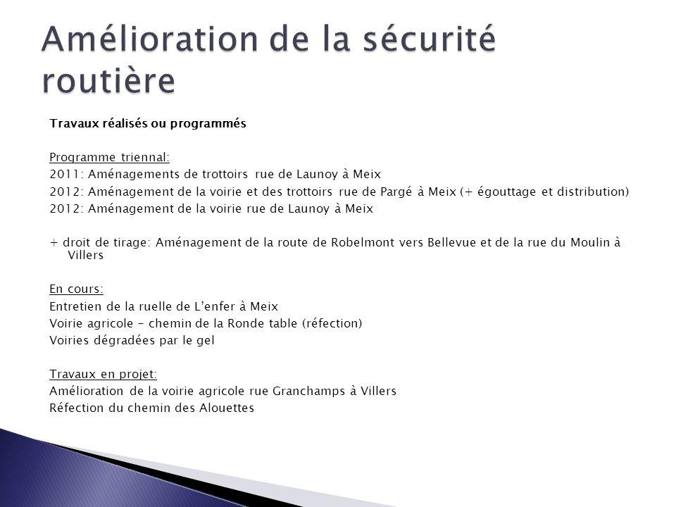 Travaux réalisés ou programmés Programme triennal: 2011: Aménagements de trottoirs rue de Launoy à Meix 2012: Aménagement de la voirie et des trottoir