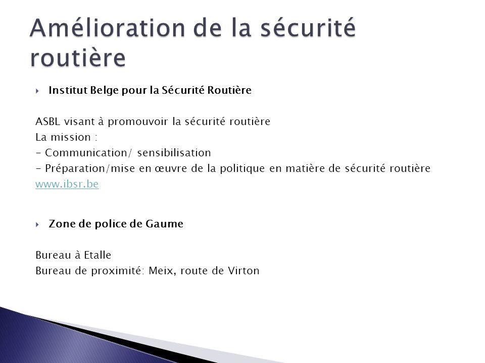  Institut Belge pour la Sécurité Routière ASBL visant à promouvoir la sécurité routière La mission : - Communication/ sensibilisation - Préparation/m