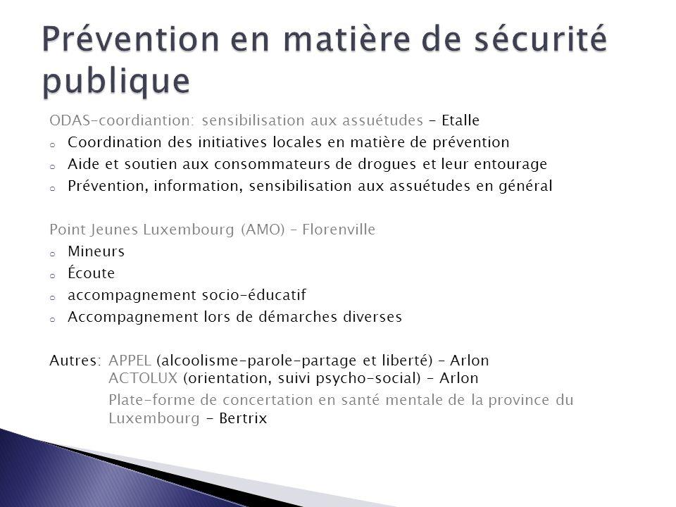 ODAS-coordiantion: sensibilisation aux assuétudes - Etalle o Coordination des initiatives locales en matière de prévention o Aide et soutien aux conso